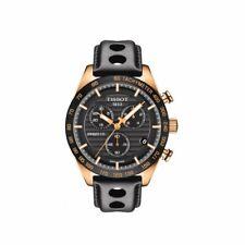 Tissot PRS 516 Gold Chrono Black Leather Swiss Mens Watch T1004173605100