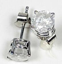 Diamond Stud Earrings Genuine Round 1 Carat 1.00 I2 14K White Gold IGL Certified