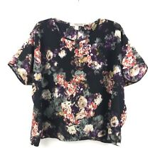 Forever 21 Juniors Size XS Black Floral Print Short Sleeve Polyester Blouse Top