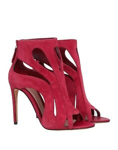New 100% Auth Alexander Mcqueen Red Suede Ankle Opeb Toes Boots Sz 40 9.5