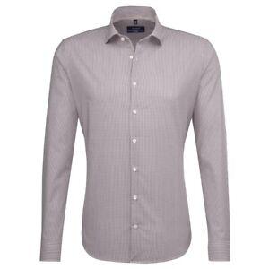 Seidensticker Langarm Business Hemd Tailored BD braun weiß Kariert 247056.25