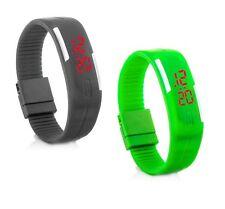 2x Digital Silikon LED Armband Uhr Armbanduhr Watch Herren Damen Kinder Sport GG