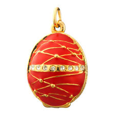Faberge Egg Pendant / Charm with crystals 2.5 cm red #P04-02B