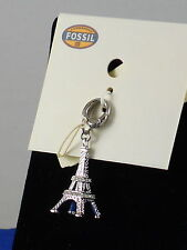 Fossil Brand Stainless Clear Pave' Eiffel Tower Necklace Bracelet Charm JF01164