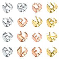 Rose, Gold, Silber Anfangsbuchstabe A bis Z Verstellbarer offener Siegelring