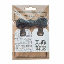 Set of 20 Vintage Retro Love Black & White Decorative Gift Tags & Cord 10x4.5cm