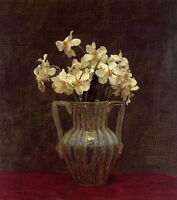 oil painting beautiful still life nice white flowers in pottery vase no reserve