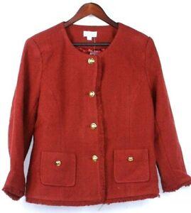 Joan Rivers Boucle Jacket w/ Self Fringe & Bracelet Sleeves Size 14