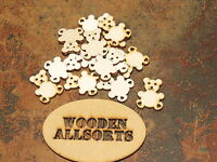25x Natural wooden Bear shapes approx 30mm(h)x 23mm(w) Craft or embellishments