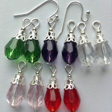 5 Pairs Crystal Glass Teardrop Charms,2 Copper Interchangeable Earring Hooks new