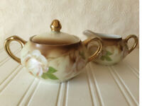 Vintage Sugar Bowl and Creamer    CS Prussia   Carl Schlegelmilch  Porcelain
