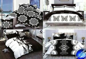Duvet Cover Pillowcases Quilt Cover Bedding Sets Double King Size black white