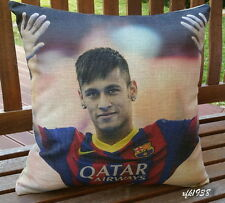 Cotton Linen Cushion Cover Pillow Case Soccer star Brazil Barcelona Neymar D1