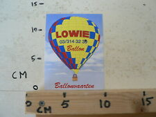 STICKER,DECAL LOWIE BALLON BALLONVAART  HOT AIR BALLOON,BALLON  AIR CHAUD