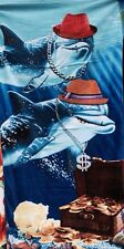 "Brand New 100% Cotton Velour Dolphins Beach Towel 40"" X 70"""
