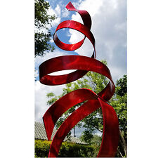 Large Red Outdoor Yard Sculpture, Modern Abstract Metal Art Decor by Jon Allen