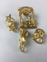 Vintage Kitten Cat Lapel tie tack Pins Jewelry Lot of 4 gold tone