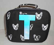 New Girls Justice Lunch Box Tote Initial T French Bulldog Bag Dogs Nwt Black
