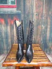 Ladies Black Leather Nocona Cowgirl Boots Sz:7.5 B