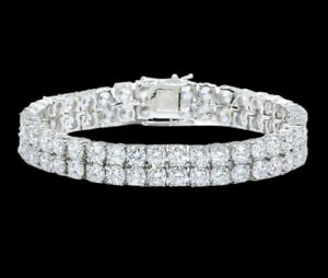 White gold finish men's double row round cut created diamond bracelet