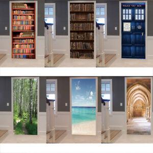 3D Door Wall Art Sticker Decal Removable Self Adhesive Mural Home Decor 2Pcs/Set