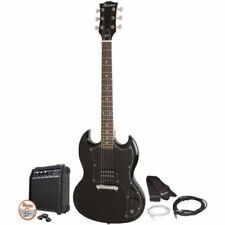 Black Electric Guitar Kit Double Cutaway Maestro by Gibson Amp Picks DVD More