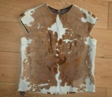 Vintage RARE Ladies Real Cowhide Sleeveless Shirt Top Zipped Vest Gilet size M