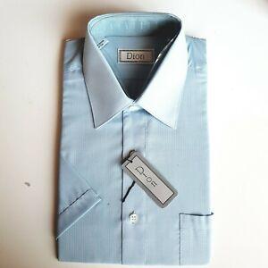 Shirt Men's Vintage Dion Blue  Dress Shirt Sz S original packaging Short sleeves