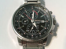Seiko 7T62-0GZ0 Men's Watch Black Analog Dial Date Chronograph 100M/330FT WR