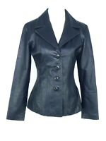 Wilsons Leather Maxima Jacket US XS Blue Slate Soft Leather Button Front Blazer