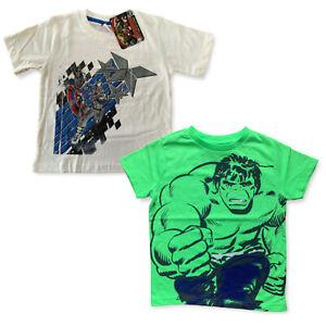 Boys Marvel Avengers Hulk / Captain America T-Shirt Top Tshirt Age 1 - 7 Years