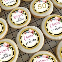 "Glitter Gold Floral 50th Pre-cut 2"" Edible Icing Cupcake Toppers - Sheet of 15"