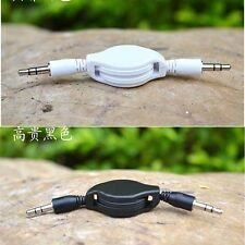Retractable Aux Cable Stereo Audio Extension 3.5mm Input Cord Male to Male b&w