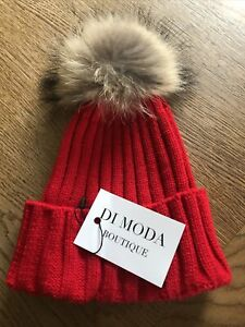 Red Woolen Knitted Real Fur Pompom Bobble Hat Brand New
