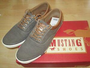 Mustang Shoes Herren Sneaker Freizeit-Schuhe Gr.42 Dunkelgrau Schnürer  / NEU !
