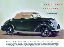 1937 Ford V-8 Convertible Cabriolet - Promotional Advertising Poster
