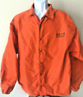 Vintage ORANGE POLY WINDBREAKER Jacket Buttons Buttoned Mens Lightweight Russell