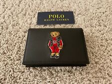 Ralph Lauren Teddy Bear Leather Wallet - Black - Genuine Leather - NEW