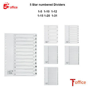 A4 Numbered File Dividers White 1-5 1-10 1-12 1-15 1-20 1-31