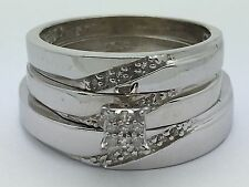 New Sterling Silver His Hers Round Diamond Trio Matching Wedding Band Ring Set