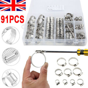 91pc Assorted Stainless Steel Hose Clamp Kit With No Driver Jubilee Clip Set UK