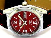 citizen automatic mens steel red dial day/date vintage japan watch run order