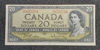 1954 Canada $20.00 BC-41b Beattie Rasminsky Mismatched Serial Number Error
