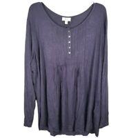 Style & Co. Womens Tunic Top Purple Plus Size 3X Long Sleeve