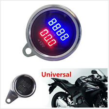 Round Red & Blue LED Motorccyle Digital PRM Tachometer Voltmeter Gauge Meter Kit