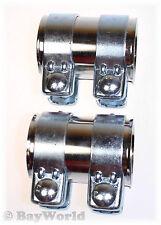 2 St. Auspuff Universal V2A Rohrverbinder Edelstahl 52x95 mm Doppelschelle 52x90
