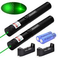 2PCS 200Miles Assassin 303 Green Lazer Pen 532nm Visible Beam+18650 Batt+Charger