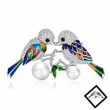 Vintage Animal Brooch Pins for Women : Silver Birds