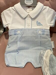 Baby Boys All in One Romper Set Spanish Style with Hat Gingham 2pc 0-6 m Blue