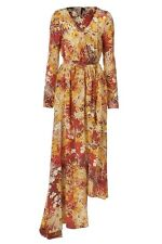 Topshop Boutique 6 2 S Dress Silk Floral Asian Print Wrap Kimono Long Sleeve NEW